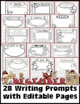 December Writing Prompts with Editable Pages for Journals, Homework, or Centers
