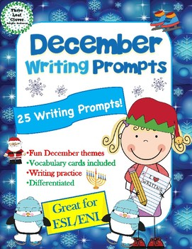 December Writing Prompts with Vocabulary Cards Great for ESL/ENL