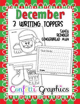 December Christmas Writing Toppers No Prep Santa Gingerbread Reindeer  K 1 2 3