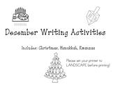 December Writing Worksheets: Christmas, Hanukkah, Kwanzaa