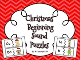 December and Christmas Beginning Sounds Work Station Puzzles