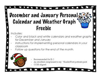 December and January Personal Calendar - Morning Work - Freebie!