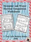 December and Winter Rhythm Composition Worksheets