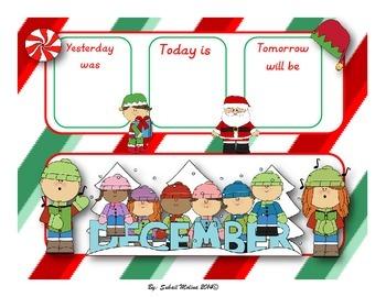 December calendar flash cards