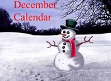 December calendar for the Promethean board