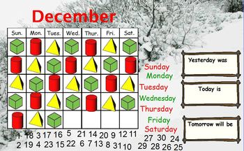 December calendar for the Promethean board