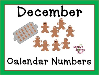 December (gingerbread man) Calendar title and numbers