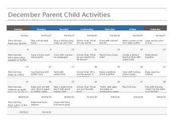 December (holiday based) Parent Child Activity Calendar