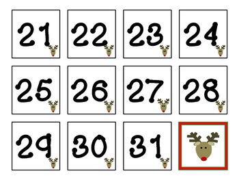 December (reindeer) Calendar title and numbers