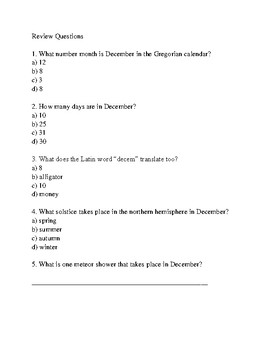December - review article history facts information events with review questions