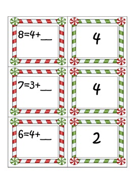 December-theme: First Grade Math Common Core Missing Addends & Sums