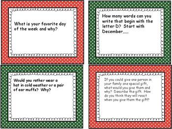 December writing center task cards
