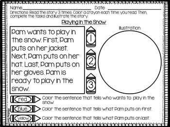 Winter Reading Comprehension and Fluency Passages