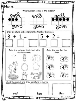 December Daily Math and Reading Morning Work/ Homework
