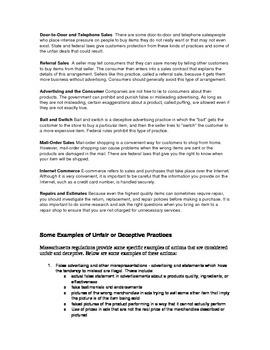 Deceptive Sales Practices, smart consumer worksheet