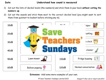 Decibels / Measuring sound Lesson plan and Worksheet