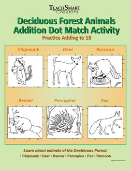 Deciduous Forest Animals Addition Dot Match Activity