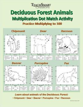 Deciduous Forest Animals Multiplication Dot Match Activity