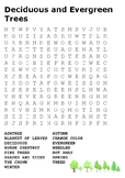 Deciduous and Evergreen Trees Word Search
