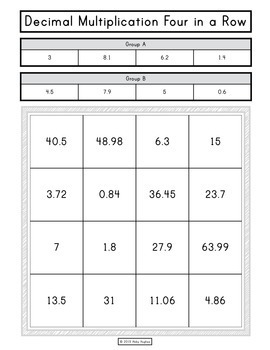 Decimal Operations 4 in a Row Partner Game FREEBIE