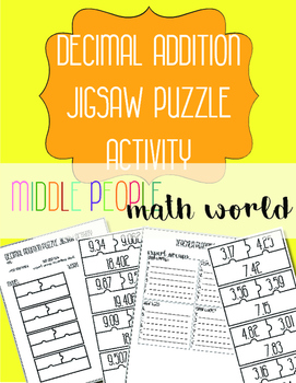 Decimal Addition Jigsaw Puzzle Activity