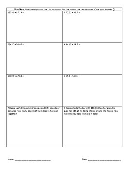 Decimal Addition Mini Lesson and Worksheet (Reteach/Intervention)