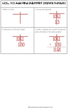 Adding & Subtracting Decimals Notebook Pages