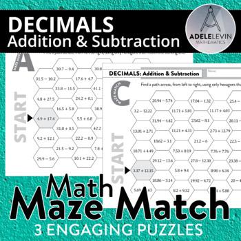 Decimal Addition & Subtraction (MATH MAZE MATCH)