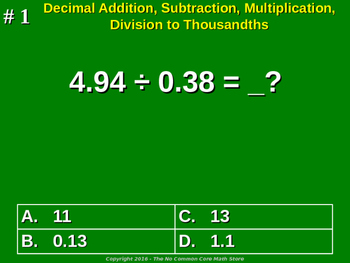 Decimal Addition, Subtraction, Multiplication, Division to Thousandths
