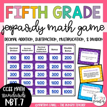 Decimal Addition Subtraction Multiplication and Divison Jeopardy Math Game