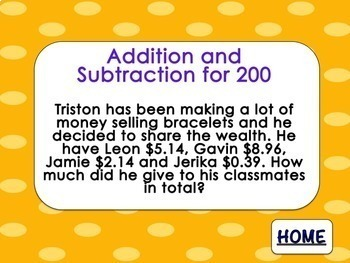 Decimal Addition Subtraction Multiplication and Divison Math Review Game