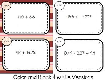Decimal Addition & Subtraction Self Checking Task Cards