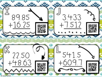 Decimal Addition & Subtraction Task Cards with QR Codes BUNDLE