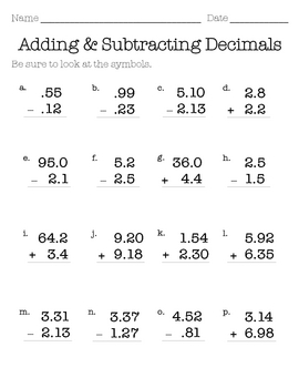 Adding and Subtracting Decimals Worksheet | Homeoutsidethebox.com