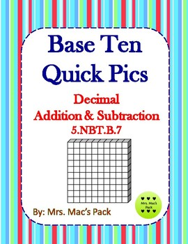Decimal Addition & Subtraction with Quick Pics