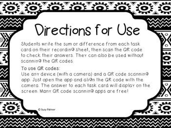 Decimal Addition Task Cards with QR Codes