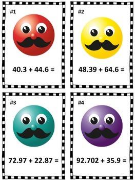 Decimal Addition and Comparing Mustache Smiley Face Math Center (Common Core)