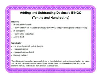 Decimal Addition and Subtraction BINGO (Tenths and Hundredths)