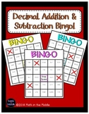 Decimal Addition and Subtraction Math Bingo - Math Review Game