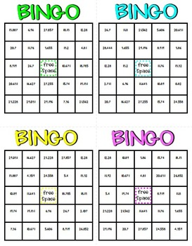 Decimal Addition And Subtraction Math Bingo Math Review