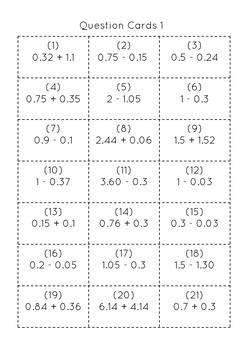 Decimal Addition and Subtraction Bingo