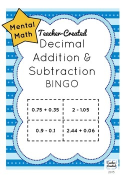 Decimal Addition and Subtraction Bingo