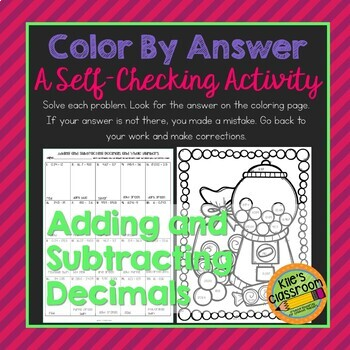 Decimal Addition and Subtraction Color By Aswer