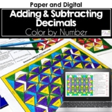 Adding and Subtracting Decimals Color by Number Distance Learning