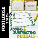 Decimal Addition & Subtraction Task Cards -Footloose Math Game (2 sets of cards)