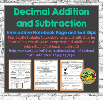 Decimal Addition and Subtraction Interactive Notebook - Guided Notes/Activities