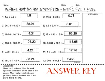 Decimal Addition and Subtraction: Match, Cut, and Paste Activity