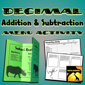Decimal Addition and Subtraction : Menu Prices Activity by Math Giraffe