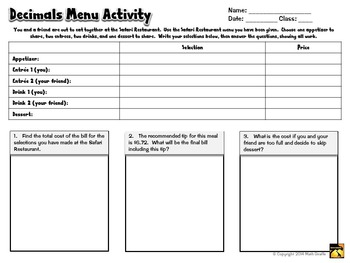 Decimal Addition and Subtraction : Menu Prices Activity