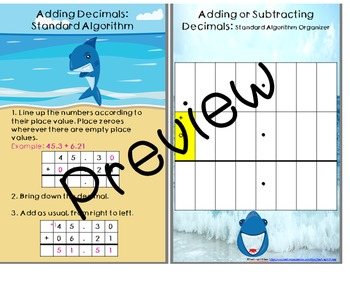 Decimal Addition and Subtraction Mini Anchor Charts